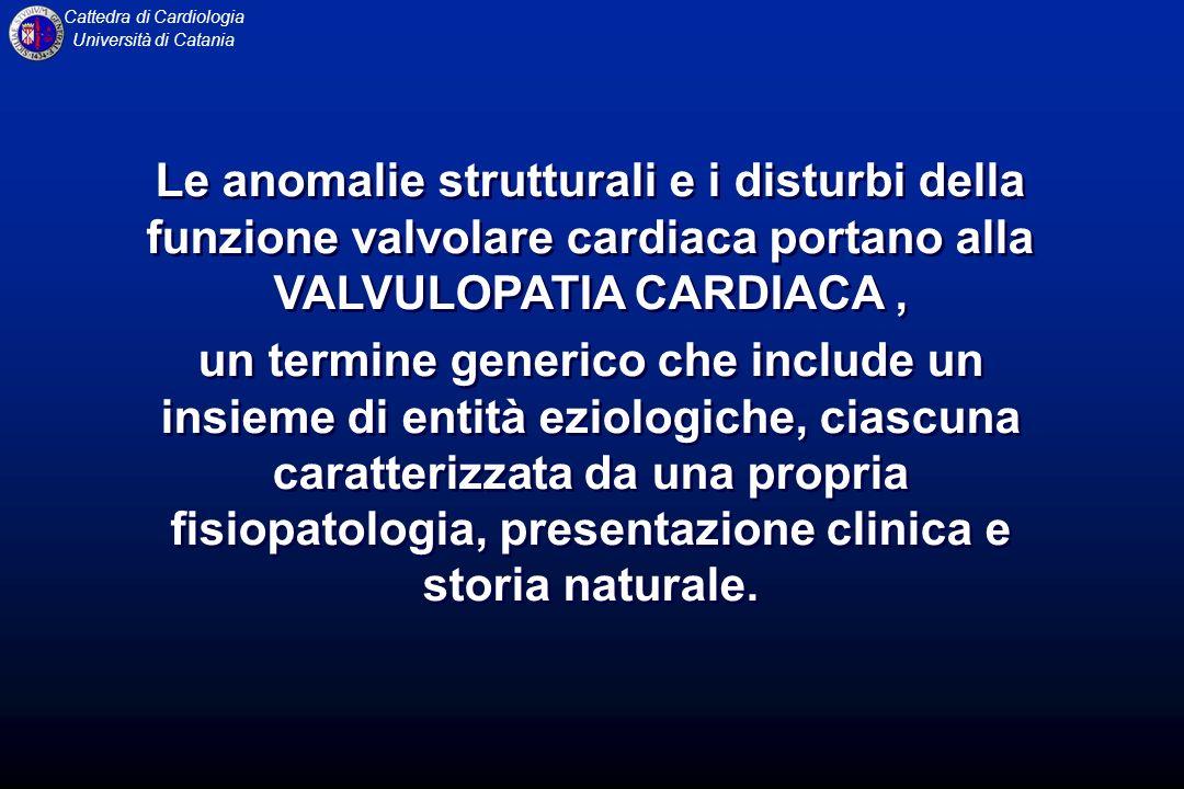 Cattedra di Cardiologia Università di CataniaValvulopatieValvulopatie Le patologie che coinvolgono le valvole cardiache conducono ad alterazioni: restrittive: STENOSI VALVOLARE Incontinenza: INSUFFICIENZA VALVOLARE I vizi possono essere ISOLATI (stenosi o insufficienza) COMBINATI (steno-insufficienza) COMPOSTI (mitro-aortici-tricuspidalici) Le patologie che coinvolgono le valvole cardiache conducono ad alterazioni: restrittive: STENOSI VALVOLARE Incontinenza: INSUFFICIENZA VALVOLARE I vizi possono essere ISOLATI (stenosi o insufficienza) COMBINATI (steno-insufficienza) COMPOSTI (mitro-aortici-tricuspidalici)