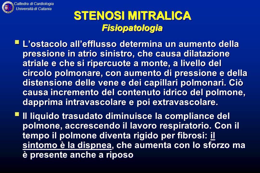 Cattedra di Cardiologia Università di Catania STENOSI MITRALICA Fisiopatologia Lostacolo allefflusso determina un aumento della pressione in atrio sin