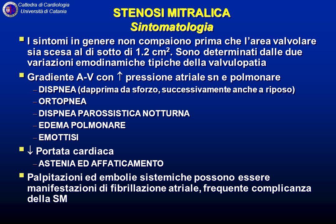 Cattedra di Cardiologia Università di Catania STENOSI MITRALICA Sintomatologia I sintomi in genere non compaiono prima che larea valvolare sia scesa a