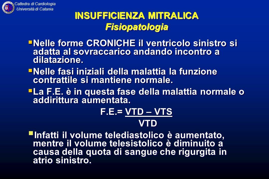 Cattedra di Cardiologia Università di Catania Nelle forme CRONICHE il ventricolo sinistro si adatta al sovraccarico andando incontro a dilatazione. Ne