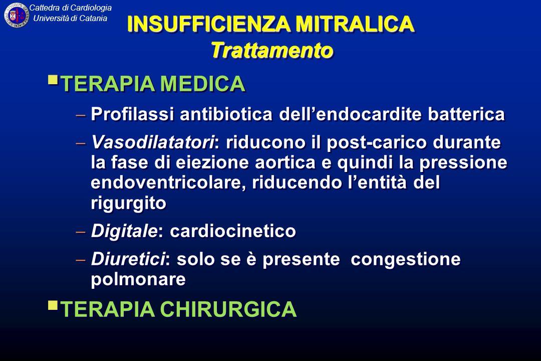 Cattedra di Cardiologia Università di Catania INSUFFICIENZA MITRALICA Trattamento TERAPIA MEDICA Profilassi antibiotica dellendocardite batterica Vaso