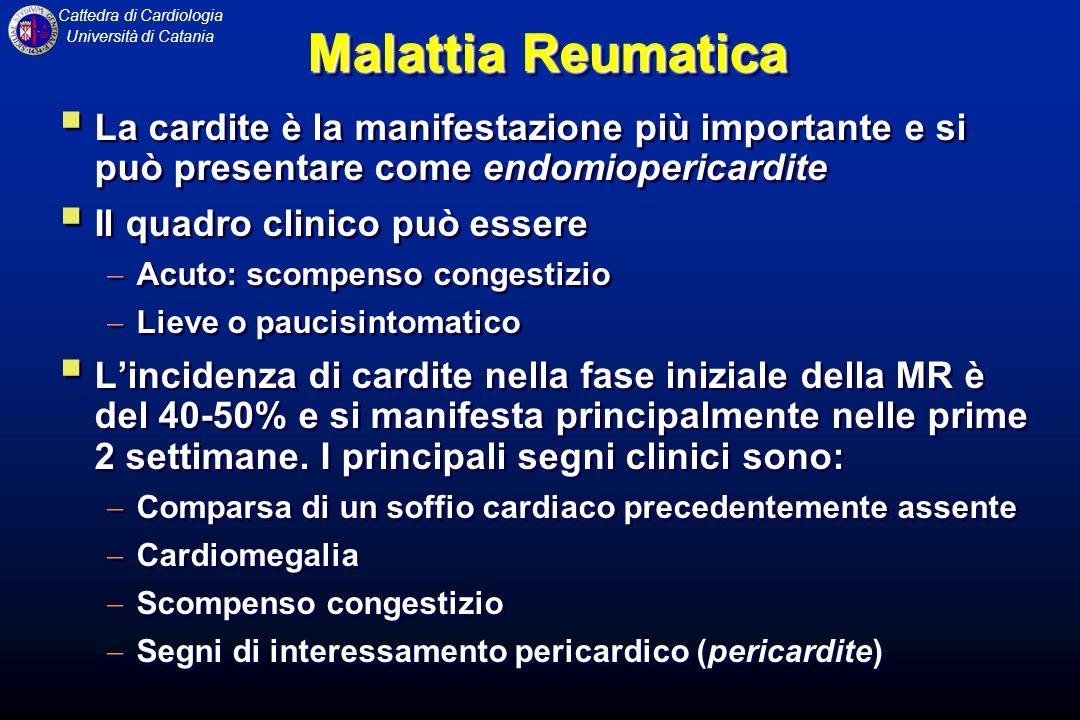 Cattedra di Cardiologia Università di Catania Malattia Reumatica La caratteristica anatomo-patologica della cardite reumatica è il NODULO di ASCHOFF: area infiammatoria perivascolare costituita da un area centrale di necrosi fibrinoide attorniata da cellule infiammatorie.