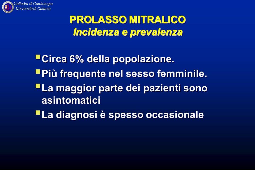 Cattedra di Cardiologia Università di Catania PROLASSO MITRALICO Incidenza e prevalenza Circa 6% della popolazione. Più frequente nel sesso femminile.