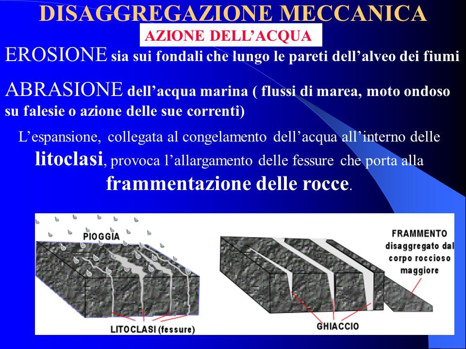 DISAGGREGAZIONE MECCANICA Aumento della superficie esposta alle aggressioni degli agenti chimici in seguito alla frammentazione di un blocco di roccia