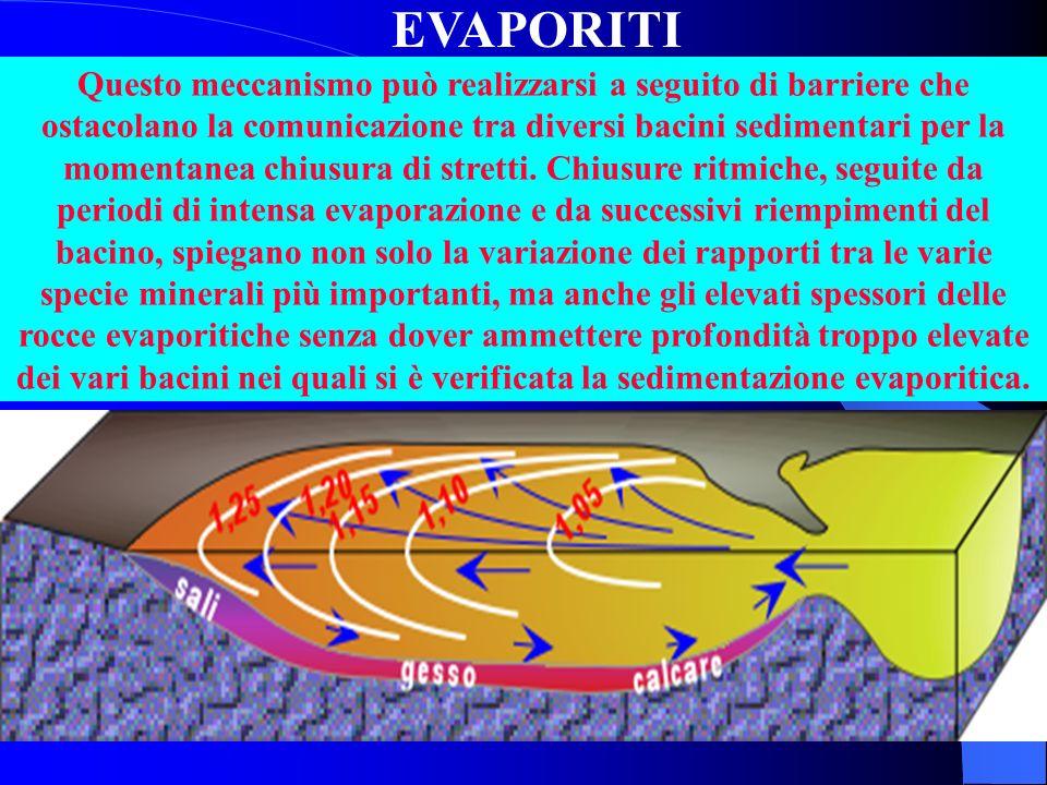 EVAPORITI Se si porta a secchezza una colonna dacqua marina alta 1000 metri, la quantità di gesso ha uno spessore di soli 75 cm mentre quella di salge