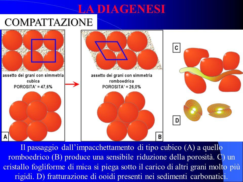 I processi più comuni della fase diagenetica possono essere distinti in: COMPATTAZIONE; DISSOLUZIONE; CEMENTAZIONE; RICRISTALLIZZAZIONE LA DIAGENESI