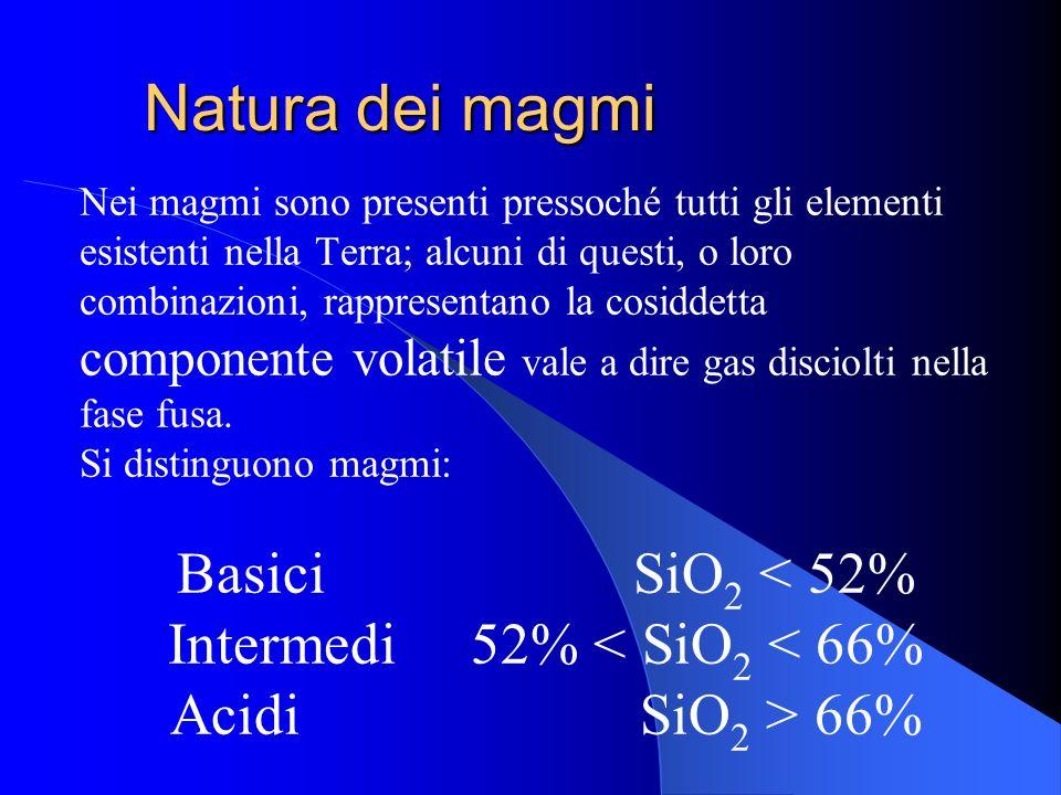 DEFINIZIONE I magmi sono materiali naturali allo stato fuso che possono contenere anche una certa quantità di cristalli. Nella quasi totalità, i fusi