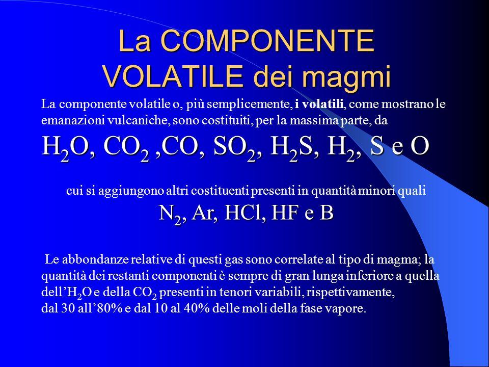 Natura dei magmi Nei magmi sono presenti pressoché tutti gli elementi esistenti nella Terra; alcuni di questi, o loro combinazioni, rappresentano la c