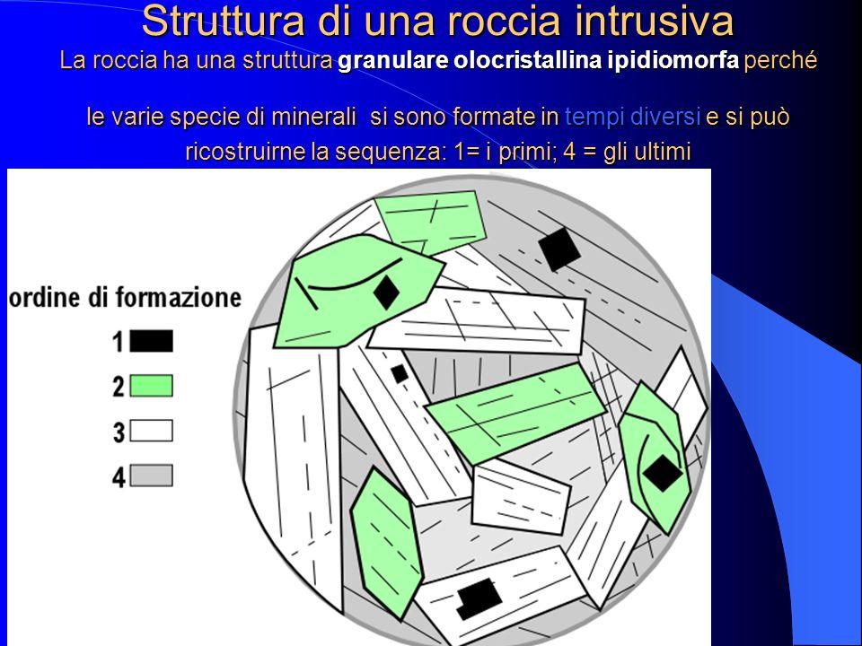 Schema riassuntivo delle strutture e delle tessiture delle rocce intrusive STRUTTURE ROCCE INTRUSIVE tutte olocristalline CaratteriTipologia dei miner