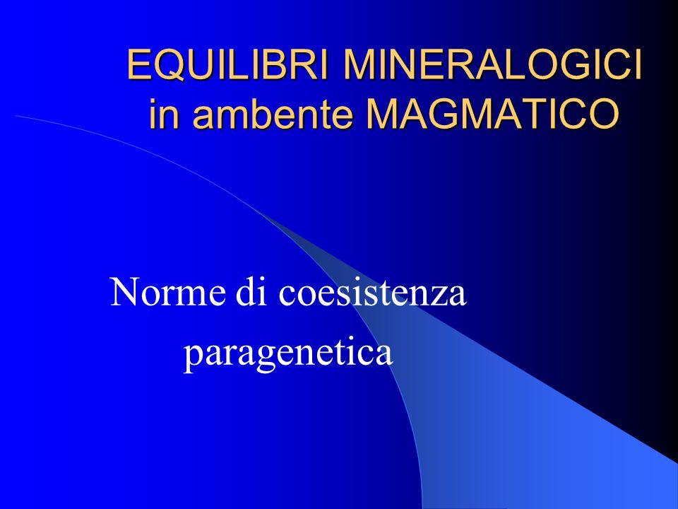 I minerali sono stati distinti in 5 gruppi che corrispondono ai seguenti parametri: Q = quarzo; A = feldspati alcalini inclusa lalbite An 0 ad An 5 P