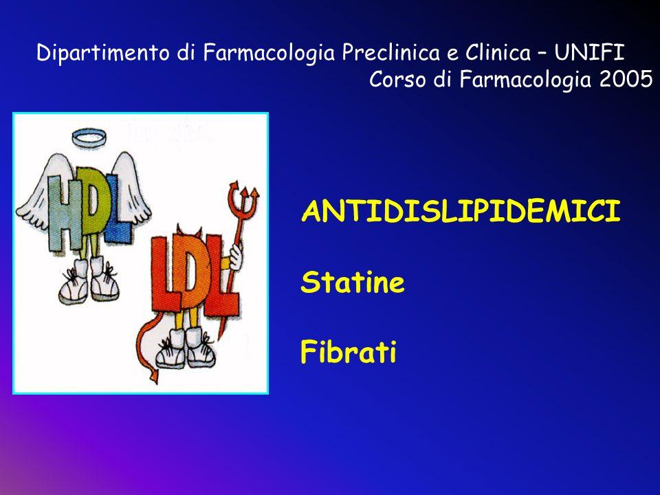 Dipartimento di Farmacologia Preclinica e Clinica – UNIFI Corso di Farmacologia 2005 ANTIDISLIPIDEMICI Statine Fibrati