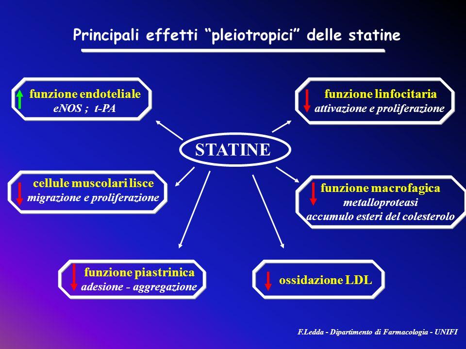 funzione endoteliale eNOS ; t-PA cellule muscolari lisce migrazione e proliferazione funzione linfocitaria attivazione e proliferazione funzione macro
