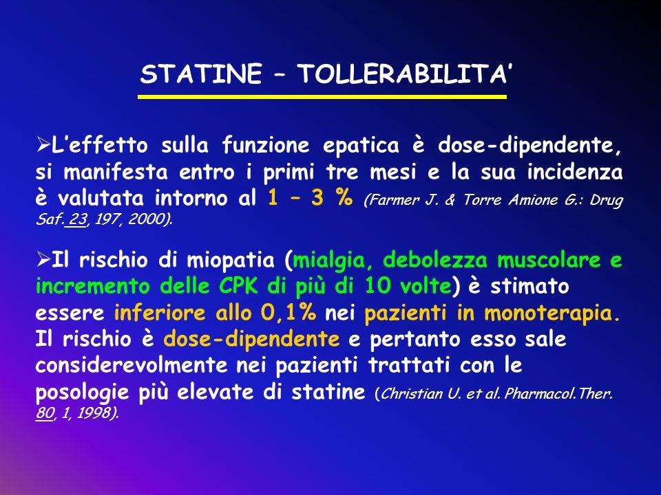 STATINE – TOLLERABILITA Leffetto sulla funzione epatica è dose-dipendente, si manifesta entro i primi tre mesi e la sua incidenza è valutata intorno a
