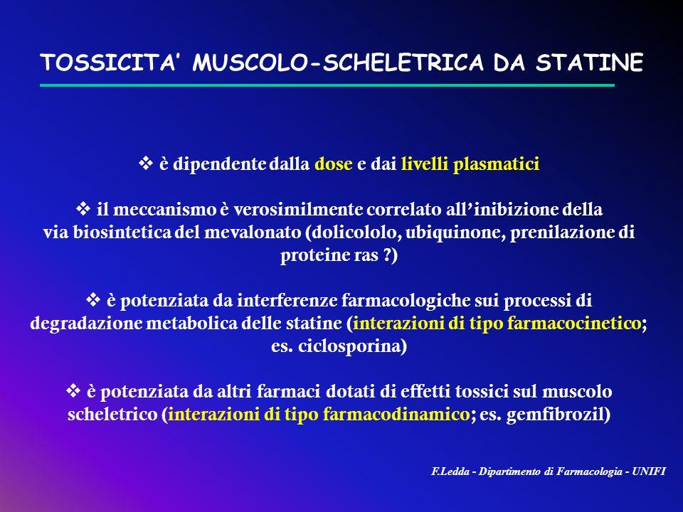 TOSSICITA MUSCOLO-SCHELETRICA DA STATINE è dipendente dalla dose e dai livelli plasmatici il meccanismo è verosimilmente correlato allinibizione della