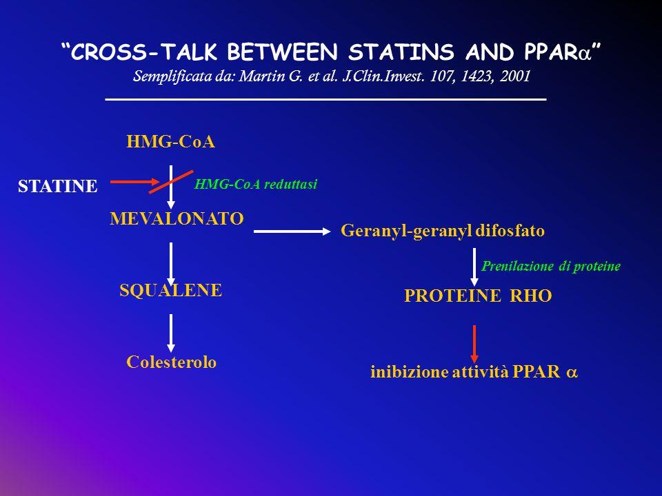 CROSS-TALK BETWEEN STATINS AND PPAR Semplificata da: Martin G. et al. J.Clin.Invest. 107, 1423, 2001 HMG-CoA MEVALONATO HMG-CoA reduttasi STATINE SQUA