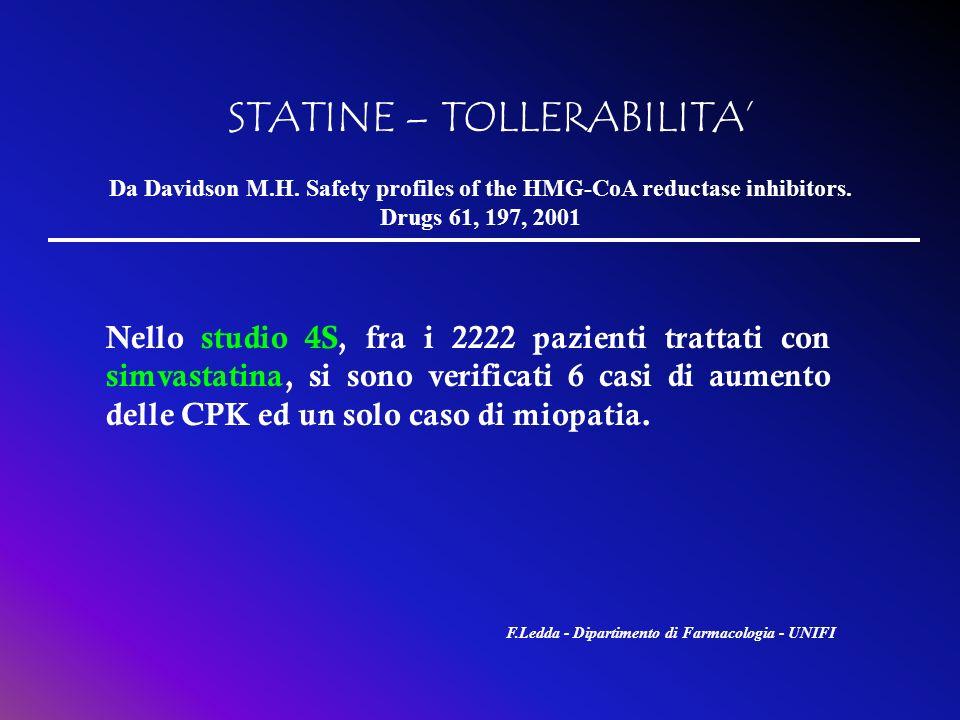 STATINE – TOLLERABILITA Nello studio 4S, fra i 2222 pazienti trattati con simvastatina, si sono verificati 6 casi di aumento delle CPK ed un solo caso
