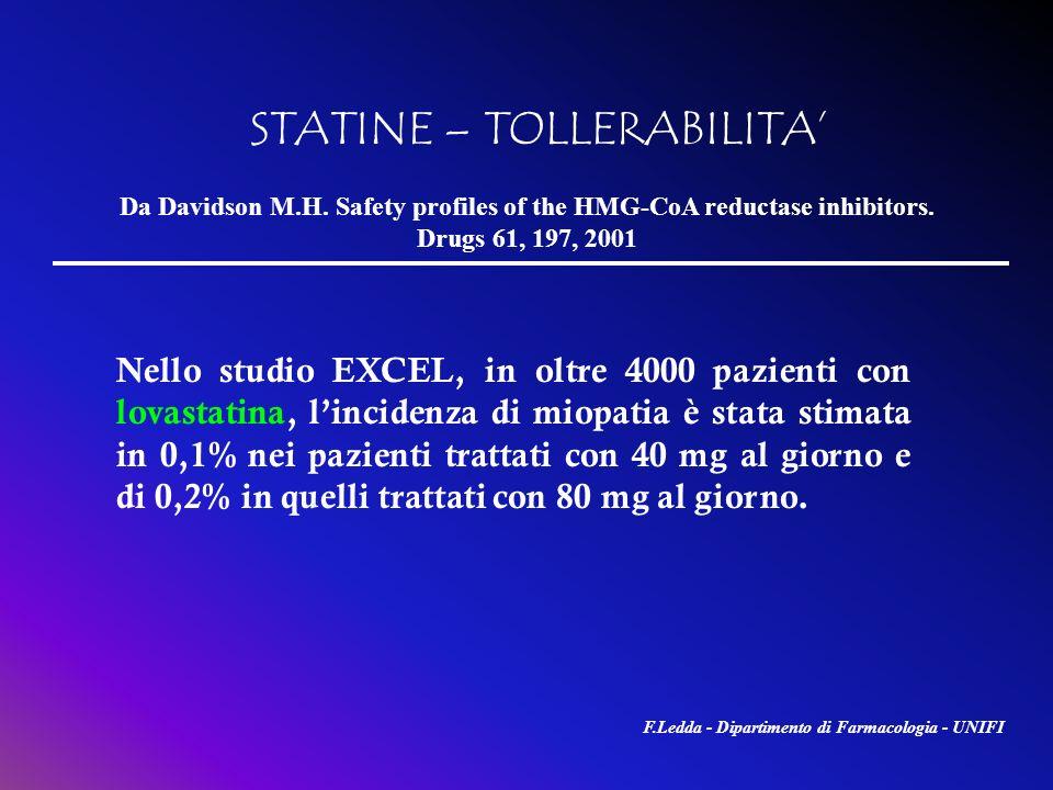 STATINE – TOLLERABILITA Nello studio EXCEL, in oltre 4000 pazienti con lovastatina, lincidenza di miopatia è stata stimata in 0,1% nei pazienti tratta