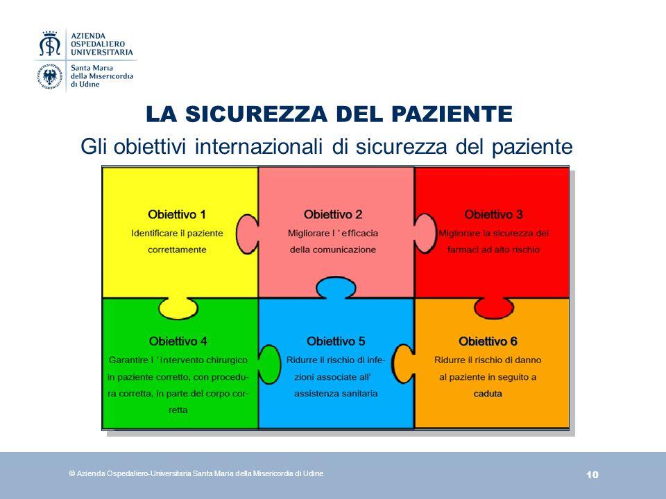 10 © Azienda Ospedaliero-Universitaria Santa Maria della Misericordia di Udine LA SICUREZZA DEL PAZIENTE Gli obiettivi internazionali di sicurezza del