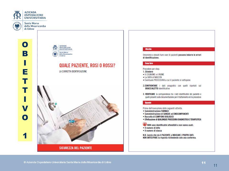 11 © Azienda Ospedaliero-Universitaria Santa Maria della Misericordia di Udine 11 OBIETTIVO1OBIETTIVO1