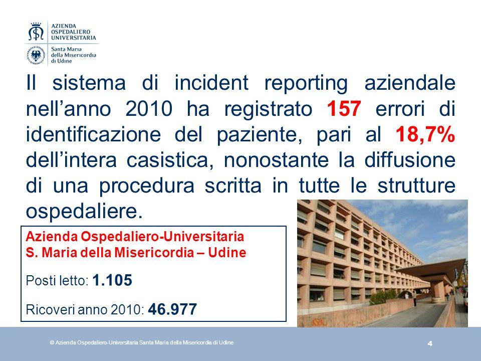 4 © Azienda Ospedaliero-Universitaria Santa Maria della Misericordia di Udine Il sistema di incident reporting aziendale nellanno 2010 ha registrato 1