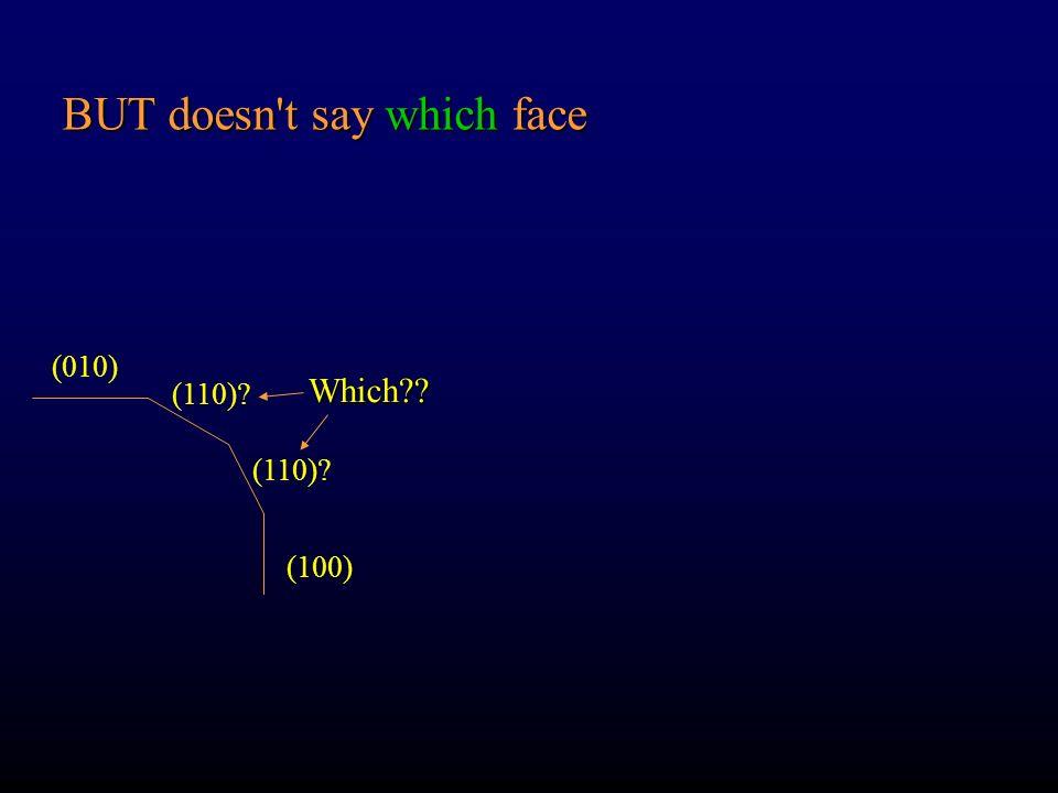 Zona Ogni gruppo di facce || ad un asse comune Uso di h k l come variabili delle intercette a, b, c (h k 0) = [001] If the MIs of 2 non-parallel faces