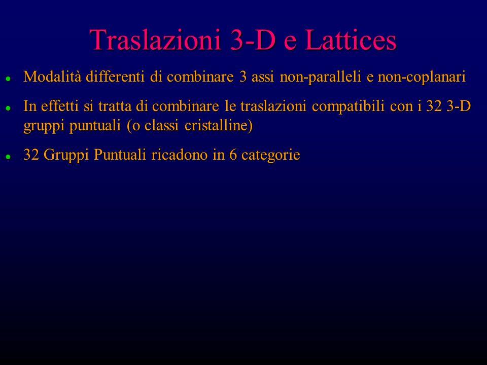 Traslazioni 3-D e Lattices l Modalità differenti di combinare 3 assi non-paralleli e non-coplanari l In effetti si tratta di combinare le traslazioni