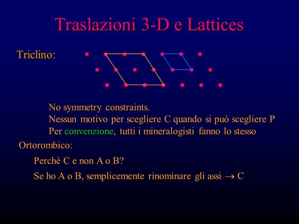 Traslazioni 3-D e Lattices Triclino: No symmetry constraints. Nessun motivo per scegliere C quando si può scegliere P Per convenzione, tutti i mineral