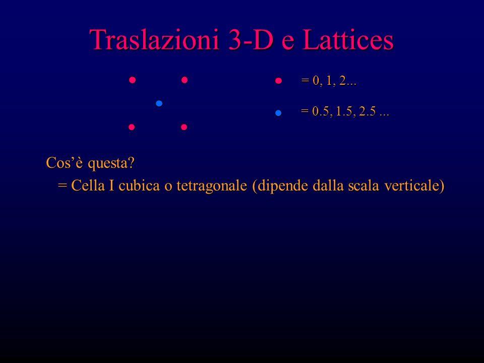 Traslazioni 3-D e Lattices = 0, 1, 2... = 0.5, 1.5, 2.5... Cosè questa? = Cella I cubica o tetragonale (dipende dalla scala verticale) = Cella I cubic
