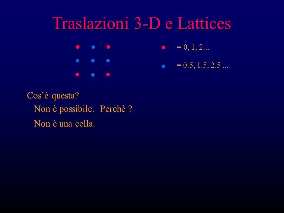 Traslazioni 3-D e Lattices = 0, 1, 2... = 0.5, 1.5, 2.5... Cosè questa? Non è possibile. Perchè ? Non è possibile. Perchè ? Non è una cella. Non è una