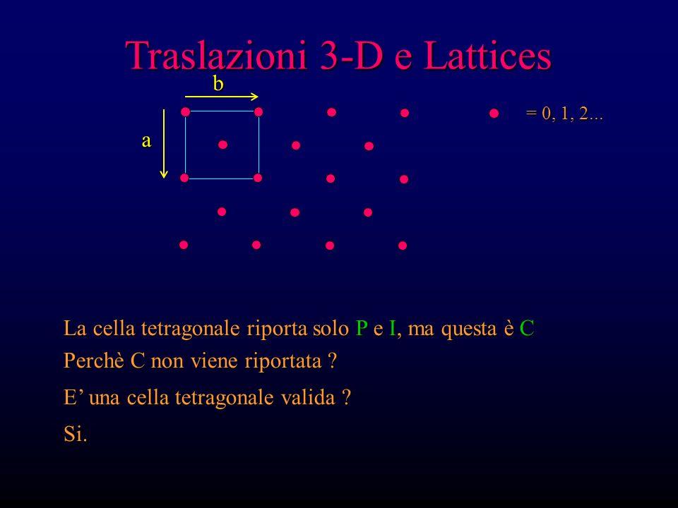 Traslazioni 3-D e Lattices = 0, 1, 2... La cella tetragonale riporta solo P e I, ma questa è C Perchè C non viene riportata ? E una cella tetragonale