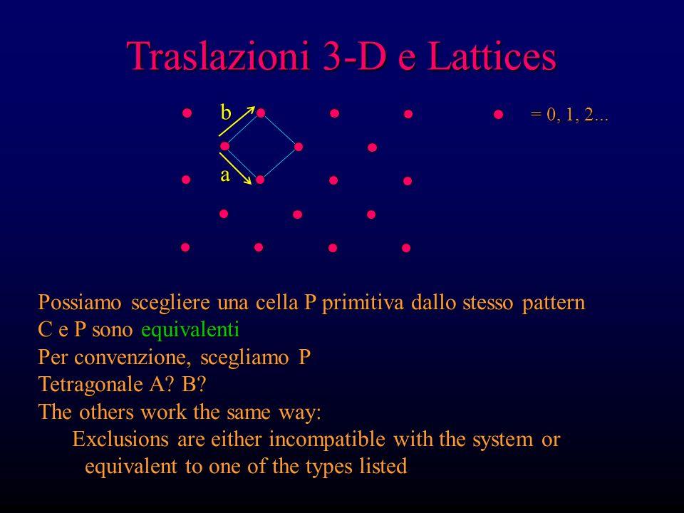 Traslazioni 3-D e Lattices = 0, 1, 2... Possiamo scegliere una cella P primitiva dallo stesso pattern C e P sono equivalenti Per convenzione, scegliam