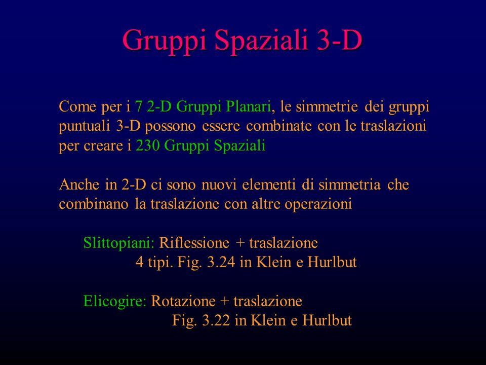 Gruppi Spaziali 3-D Come per i 7 2-D Gruppi Planari, le simmetrie dei gruppi puntuali 3-D possono essere combinate con le traslazioni per creare i 230