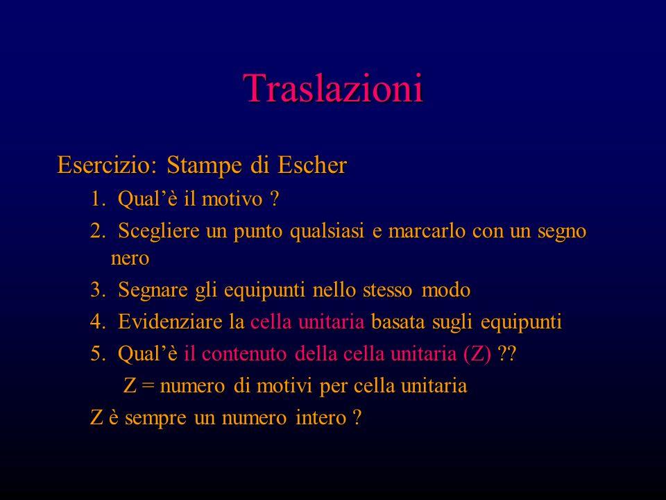 Traslazioni Esercizio: Stampe di Escher 1. Qualè il motivo ? 2. Scegliere un punto qualsiasi e marcarlo con un segno nero 3. Segnare gli equipunti nel