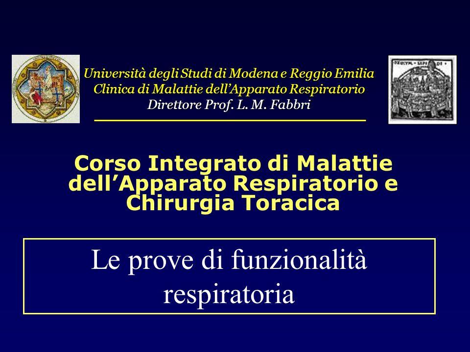 Università degli Studi di Modena e Reggio Emilia Clinica di Malattie dellApparato Respiratorio Direttore Prof. L. M. Fabbri Le prove di funzionalità r