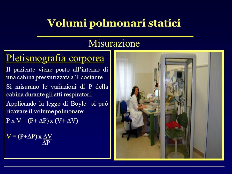 Volumi polmonari statici Misurazione Pletismografia corporea Il paziente viene posto allinterno di una cabina pressurizzata a T costante. Si misurano