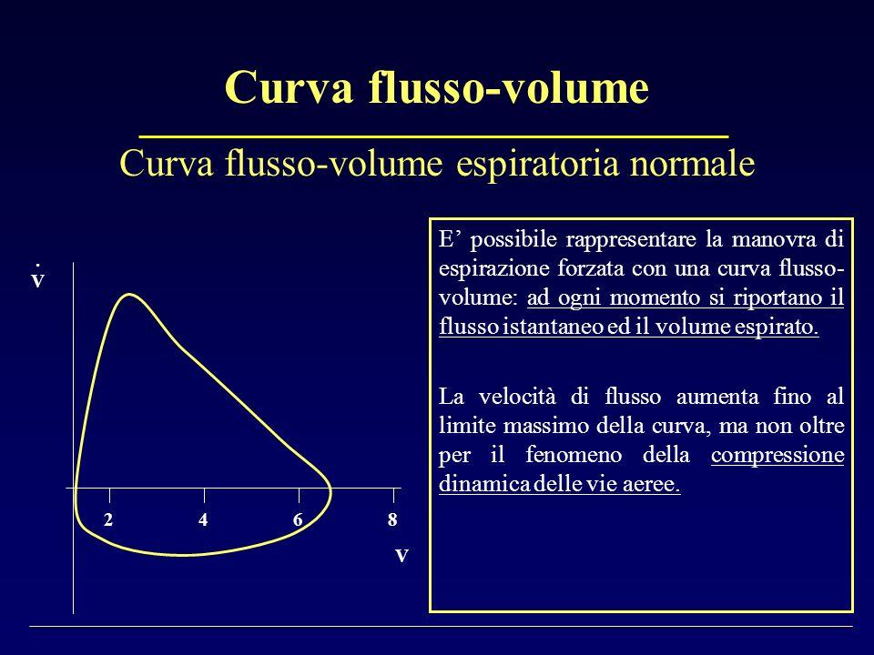 Curva flusso-volume E possibile rappresentare la manovra di espirazione forzata con una curva flusso- volume: ad ogni momento si riportano il flusso i