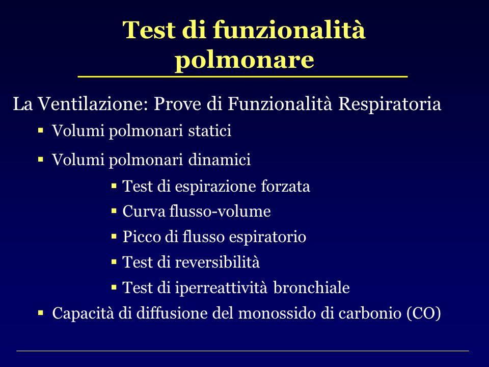 La Ventilazione: Prove di Funzionalità Respiratoria Volumi polmonari statici Volumi polmonari dinamici Test di espirazione forzata Curva flusso-volume