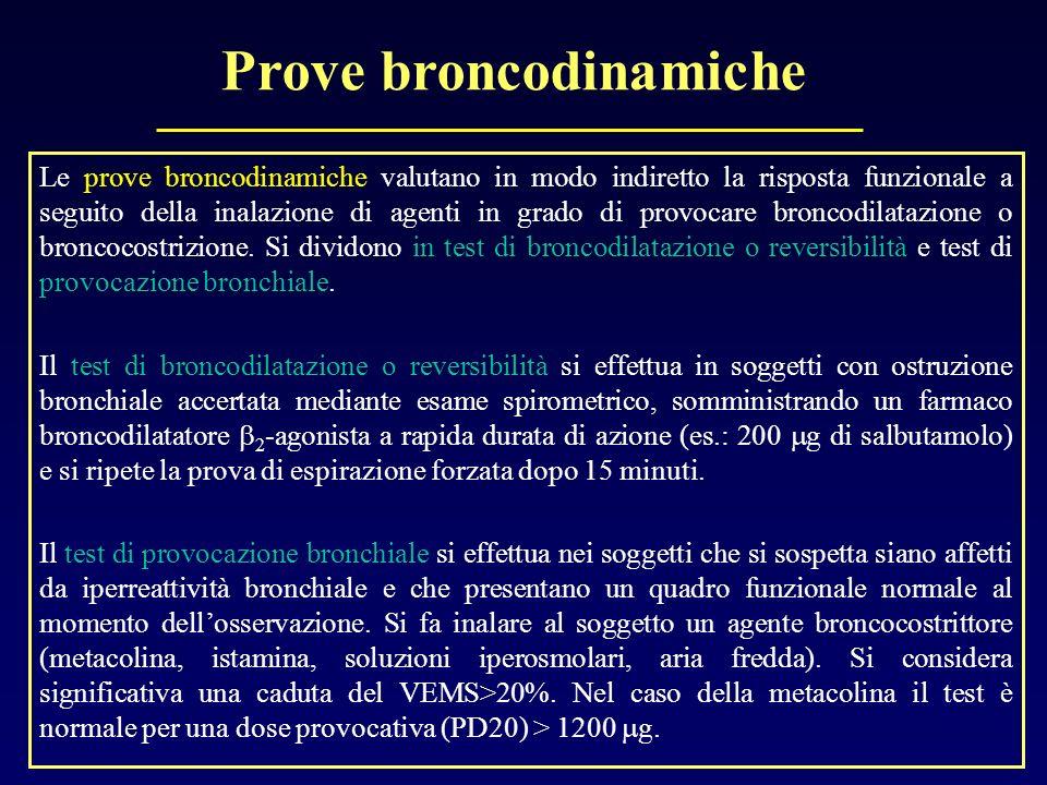 Prove broncodinamiche Le prove broncodinamiche valutano in modo indiretto la risposta funzionale a seguito della inalazione di agenti in grado di prov