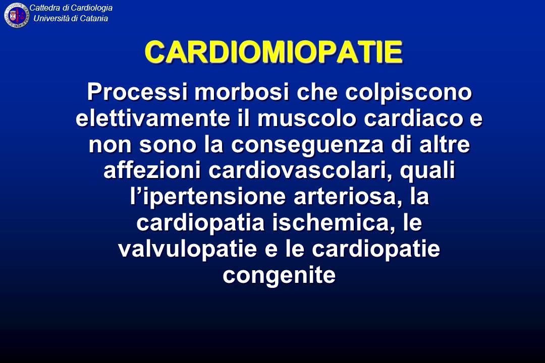 Cattedra di Cardiologia Università di Catania CARDIOMIOPATIE Classificazione eziologica 1.Primitiva: malattie del muscolo cardiaco da causa sconosciuta 2.Secondaria: malattia del miocardio da causa nota o associata a malattie che coinvolgono altri apparati 1.Primitiva: malattie del muscolo cardiaco da causa sconosciuta 2.Secondaria: malattia del miocardio da causa nota o associata a malattie che coinvolgono altri apparati