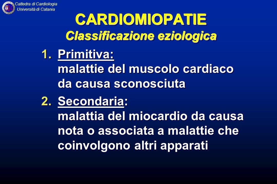 Cattedra di Cardiologia Università di Catania CARDIOMIOPATIA DILATATIVA FISIOPATOLOGIA La dilatazione del ventricolo sinistro non si accompagna ad un grado di ipertrofia sufficiente a mantenere nella norma lo stress di parete, misura del post-carico ventricolare.