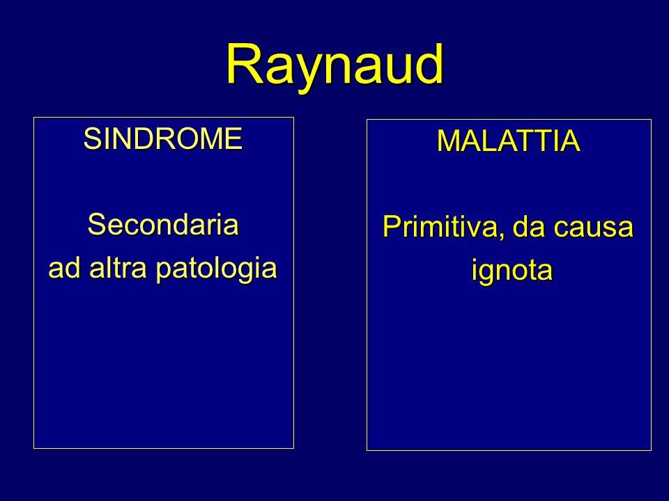 Raynaud SINDROMESecondaria ad altra patologia MALATTIA Primitiva, da causa ignota ignota