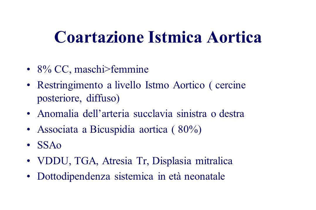 Coartazione Istmica Aortica 8% CC, maschi>femmine Restringimento a livello Istmo Aortico ( cercine posteriore, diffuso) Anomalia dellarteria succlavia
