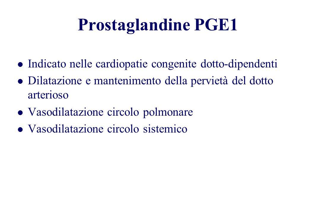 Prostaglandine PGE1 Indicato nelle cardiopatie congenite dotto-dipendenti Dilatazione e mantenimento della pervietà del dotto arterioso Vasodilatazion