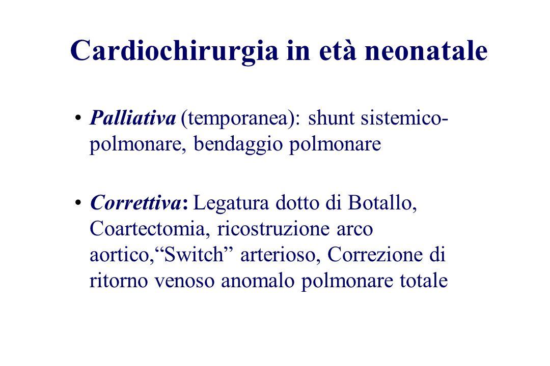 Cardiochirurgia in età neonatale Palliativa (temporanea): shunt sistemico- polmonare, bendaggio polmonare Correttiva: Legatura dotto di Botallo, Coart