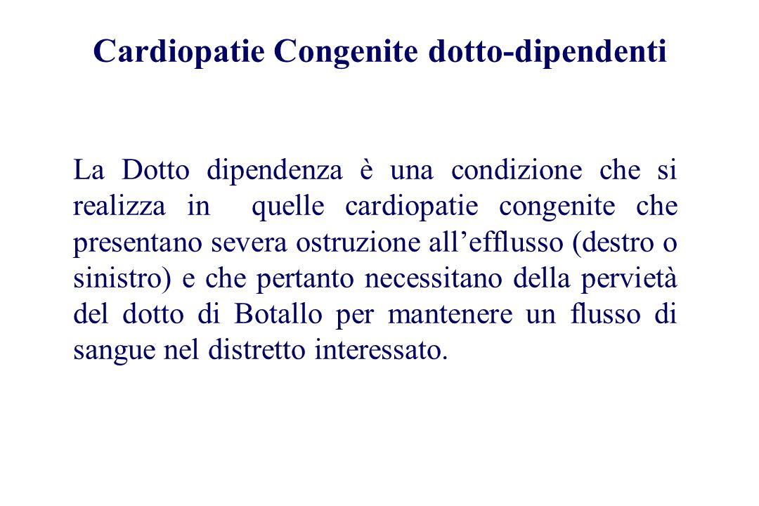 Cardiopatie Congenite dotto-dipendenti La Dotto dipendenza è una condizione che si realizza in quelle cardiopatie congenite che presentano severa ostr
