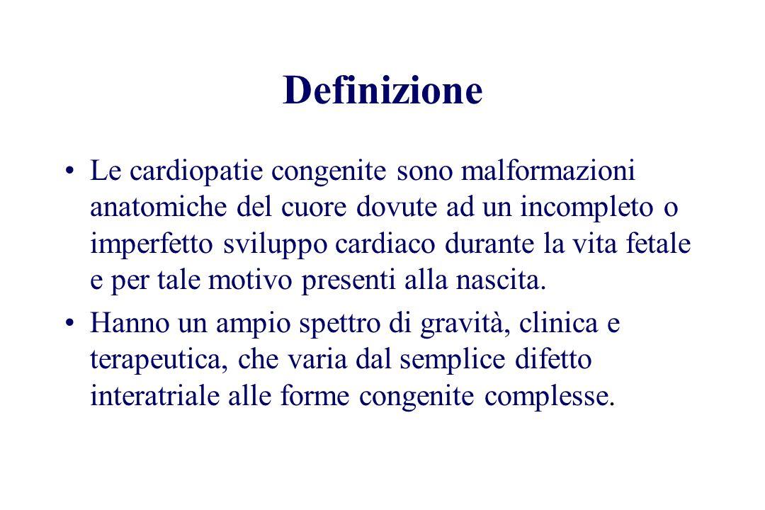 Definizione Le cardiopatie congenite sono malformazioni anatomiche del cuore dovute ad un incompleto o imperfetto sviluppo cardiaco durante la vita fe