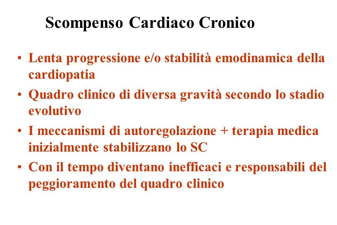 Lenta progressione e/o stabilità emodinamica della cardiopatia Quadro clinico di diversa gravità secondo lo stadio evolutivo I meccanismi di autoregol