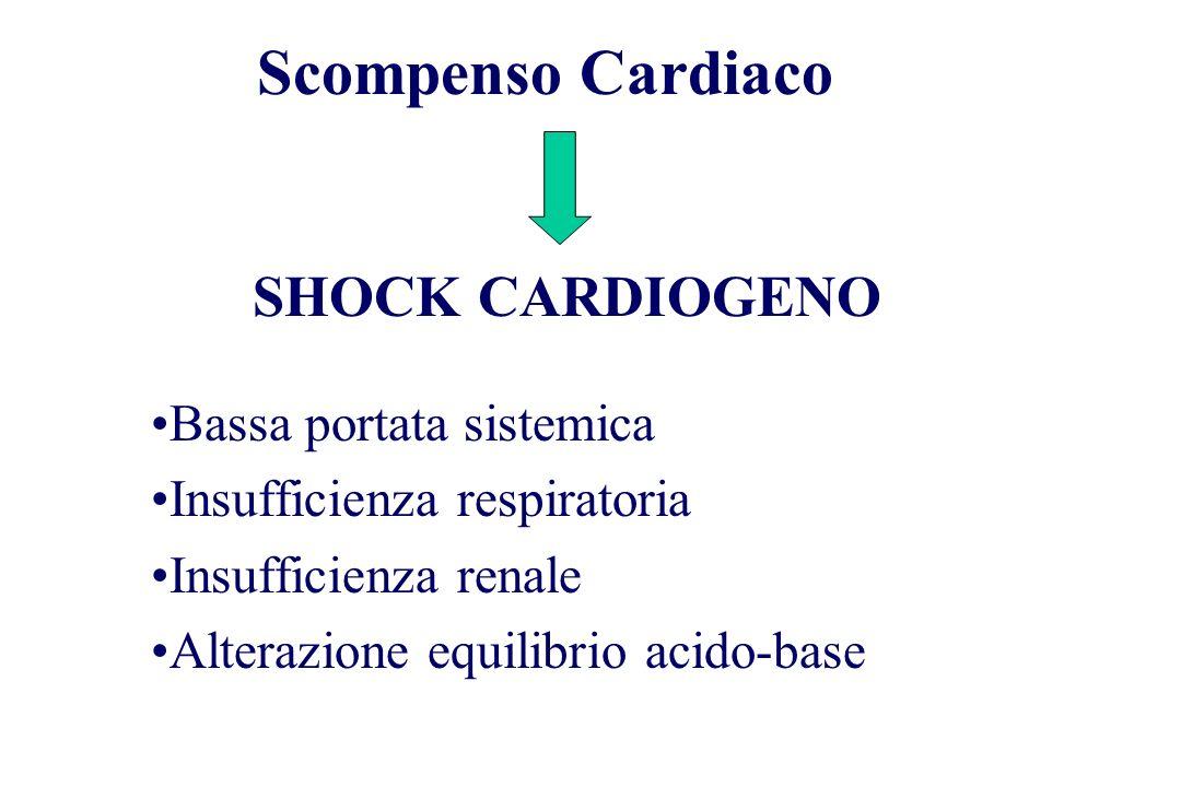 Bassa portata sistemica Insufficienza respiratoria Insufficienza renale Alterazione equilibrio acido-base Scompenso Cardiaco SHOCK CARDIOGENO