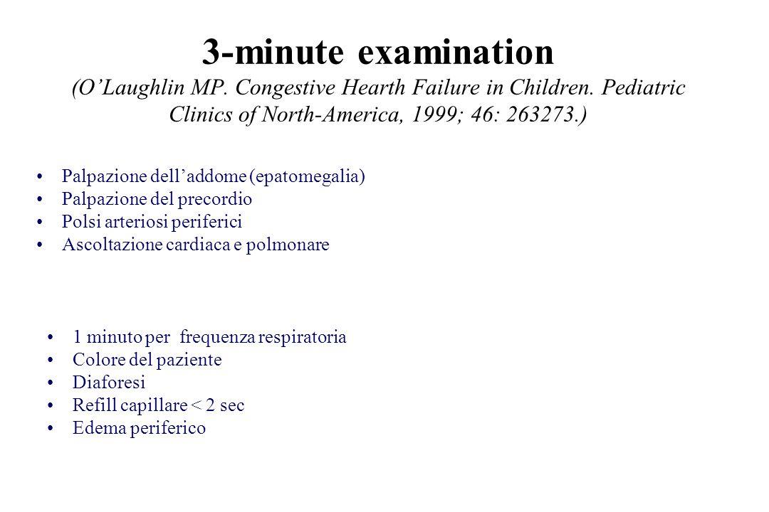 3-minute examination (OLaughlin MP. Congestive Hearth Failure in Children. Pediatric Clinics of North-America, 1999; 46: 263273.) 1 minuto per frequen
