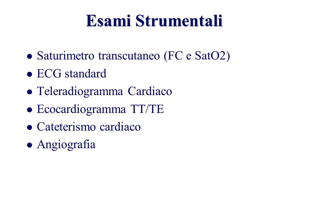 Esami Strumentali Saturimetro transcutaneo (FC e SatO2) ECG standard Teleradiogramma Cardiaco Ecocardiogramma TT/TE Cateterismo cardiaco Angiografia